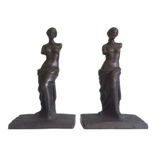 "Vintage 1920's Rare "" Venus De Milo "" Cast Iron Bronze Neoclassical Bookend Statues - a Pair"