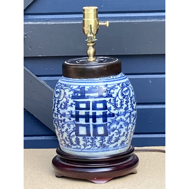 Early 20th Century Antique Blue and White Ginger Jar Lamp For Sale - Image 5 of 5