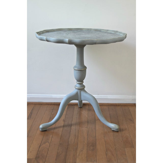 20th Century Shabby Chic Pie Crust Trim Gray Side Table For Sale - Image 9 of 9