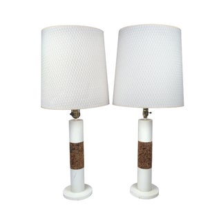 Pair of White Vintage Table Lamps With Cork Accents For Sale