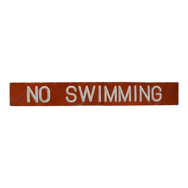 Vintage Wood No Swimming Sign For Sale