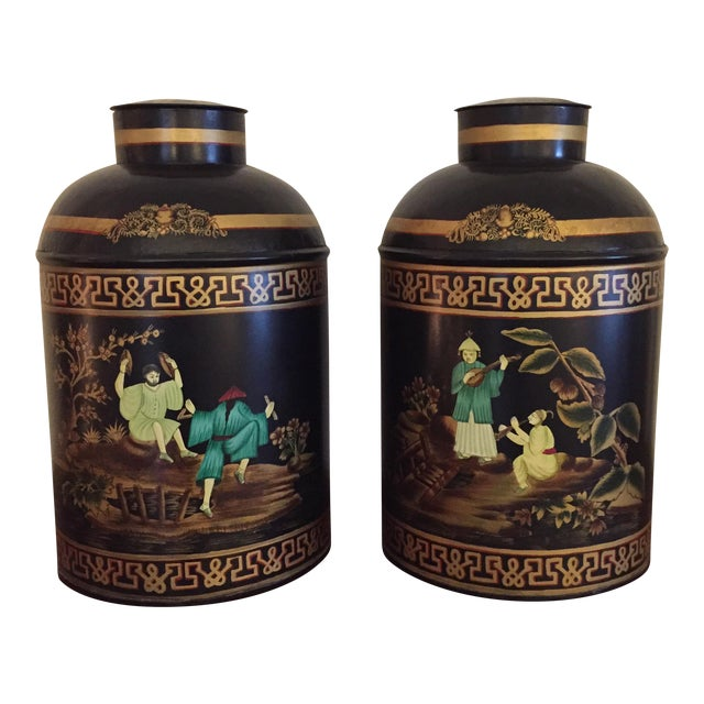 Black English Tole Tea Canisters - A Pair - Image 1 of 8