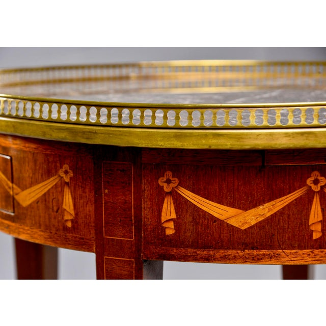 1900 - 1909 French Oak Marble Top Gueridon With Marquetry and Brass Gallery For Sale - Image 5 of 13