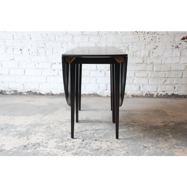 Brown Edward Wormley for Dunbar Mid-Century Modern Walnut Oval Drop-Leaf Dining Table For Sale - Image 8 of 13