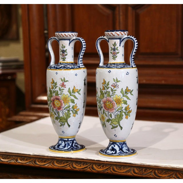 19th Century French Hand-Painted Brittany Vases Signed HB Quimper - a Pair For Sale - Image 10 of 13