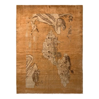 Antique Khotan Beige-Brown and Gold Pictorial Wool Rug For Sale