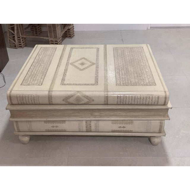 Neoclassical Neoclassical White-Parchment Leather Book Coffee Table by Maitland-Smith For Sale - Image 3 of 10