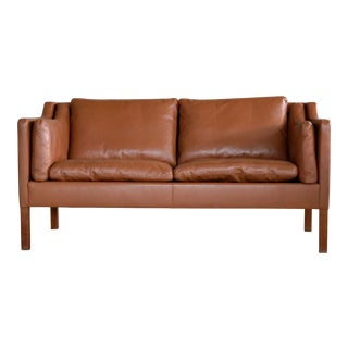 Børge Mogensen Style Two-Seat Sofa in Cognac Leather by Stouby Mobler, Denmark For Sale