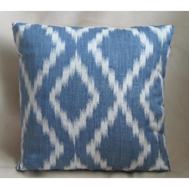 Contemporary Blue & White Rombo Decorative Pillow For Sale - Image 3 of 3