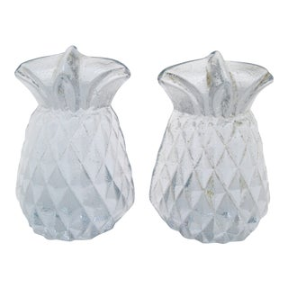 Blenko Glass Pineapple Bookends - A Pair