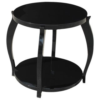 Beautiful French Art Deco Black Lacquer Two-Tier Side Table Circa 1940s