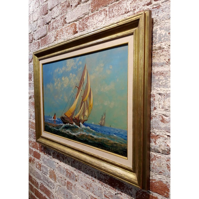 "Blue E. D. Ward ""Sailboat Racing"" Painting, 1950s For Sale - Image 8 of 10"