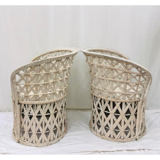 Pair Boho Chic White Wicker & Rattan Chairs For Sale - Image 9 of 13