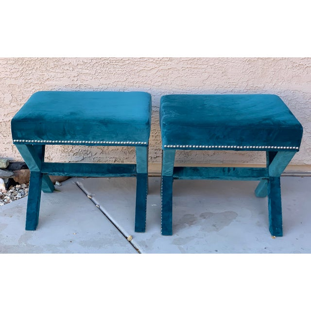 Teal Velvet X Form Bench Seats - a Pair For Sale - Image 4 of 7