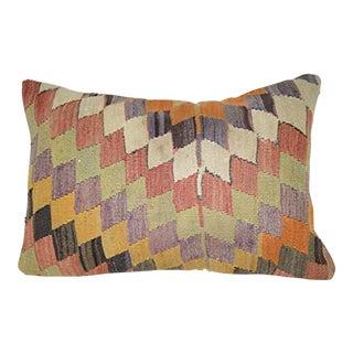 Unique Geometrical Pattern Kilim Pillow Cover, Large Bolster Kilim Pillow, Lumbar Turkish Cushion Case 16'' X 24'' (40 X 60 Cm) For Sale