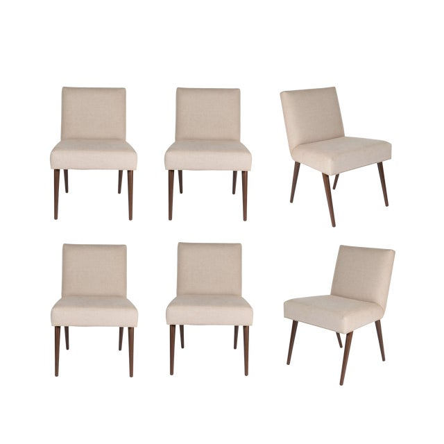 Customized Set of 6 Sheppard Dowel Leg Side Dining Chairs For Sale