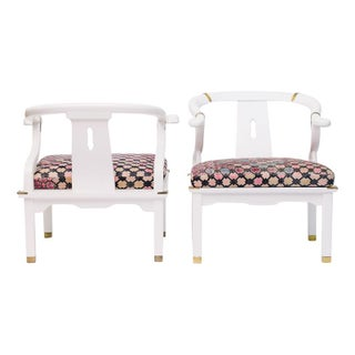Ming Styled White Arm Chairs