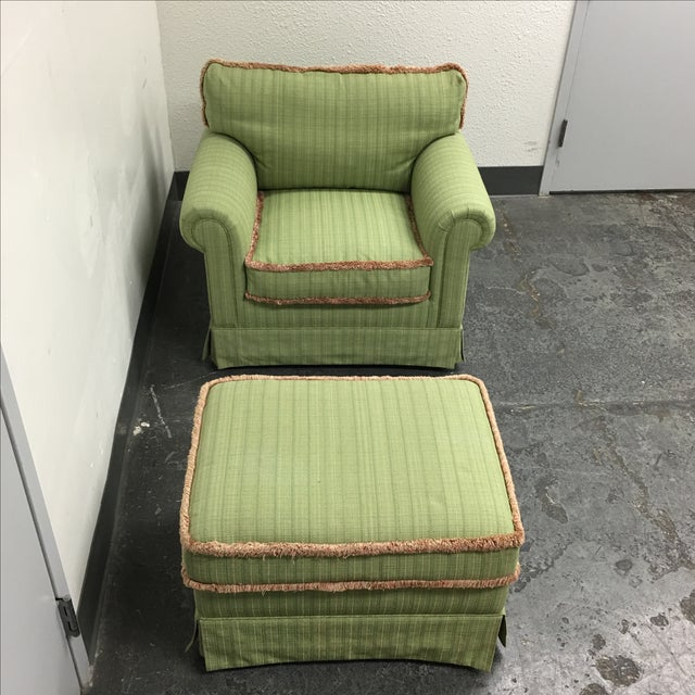Green Fringed Arm Chair & Ottoman - Image 7 of 9