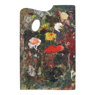 French Painter Wood Palette With Artist Signature