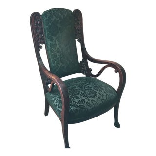 Late 19th Century Vintage Traditional Green Upholstered Carved Rosewood Arm Chair For Sale