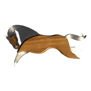 Mid Century Modern Teak & Aluminum Horse Wall Hanging For Sale