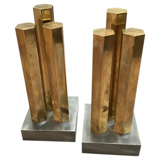 Modernist Architectural Brass and Steel Andirons - a Pair For Sale
