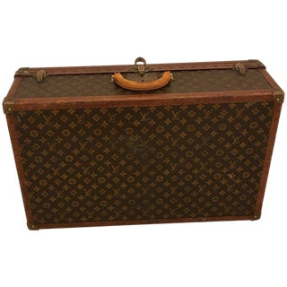 1930s Louis Vuitton Leather Trunk or Suitcase For Sale
