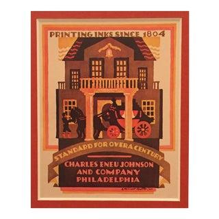 Original Art Deco Mini Poster, McKnight Kauffer for Philadelphia Ink Co.