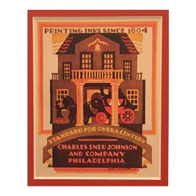 Original Art Deco Mini Poster, McKnight Kauffer for Philadelphia Ink Co. For Sale