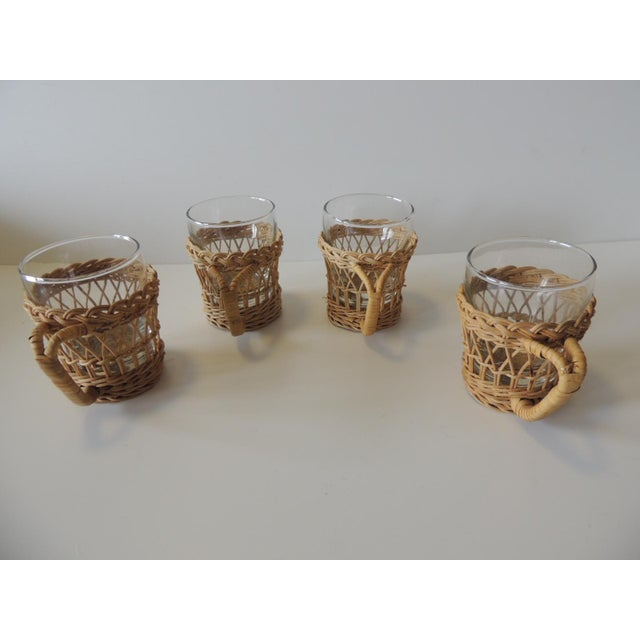 1970s Set of (4) Woven Rattan Holders Drinking Glasses For Sale - Image 5 of 7