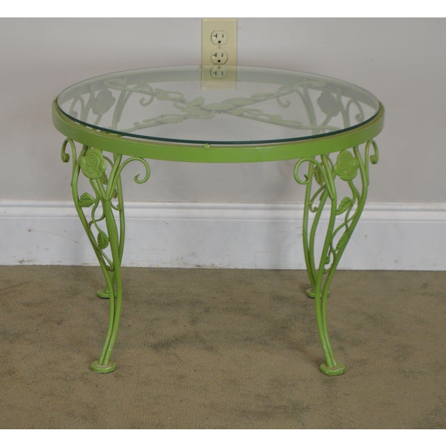 Woodard Chantilly Rose Garden Vintage Green Painted Wrought Iron Round Patio Side Table For Sale - Image 4 of 13