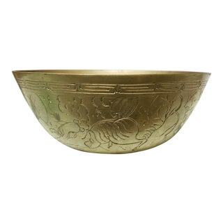 Early 20th Century Chinese Etched Brass Bowl With Qilin Motifs For Sale
