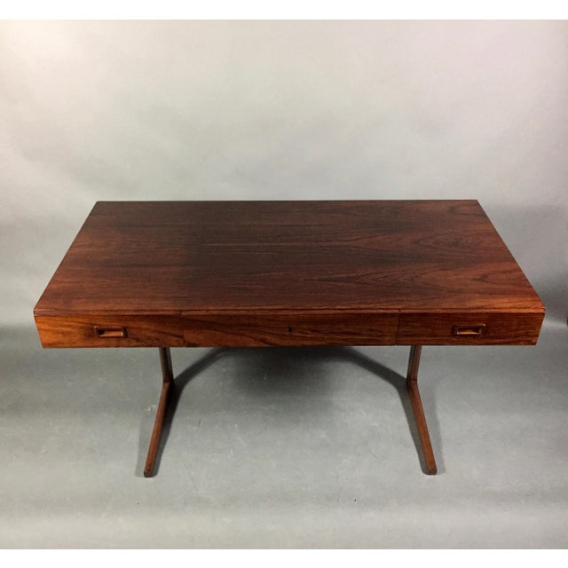 """Brown 1970 """"Cassette"""" Desk in Rosewood, Style of Georg Petersens For Sale - Image 8 of 12"""