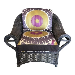 Traditional Wicker Chair with Donghia Suzani Cushions