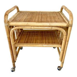 Vintage Boho Chic Rattan Bar Cart For Sale