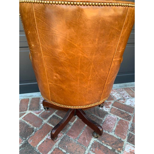 Late 20th Century Retro Tufted Leather Desk Chair For Sale - Image 4 of 8