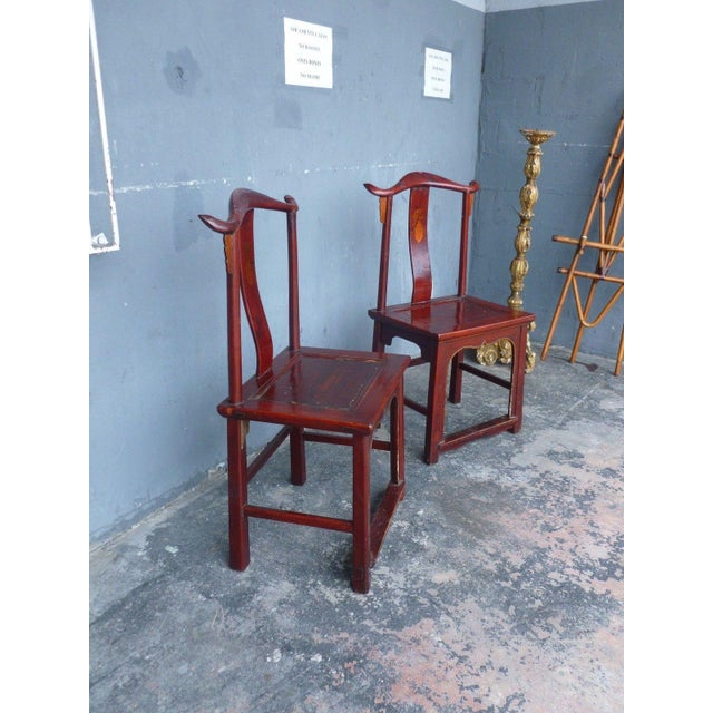 Mid 19th Century Pair of 19th Century Red Lacquer Ming Chairs For Sale - Image 5 of 13