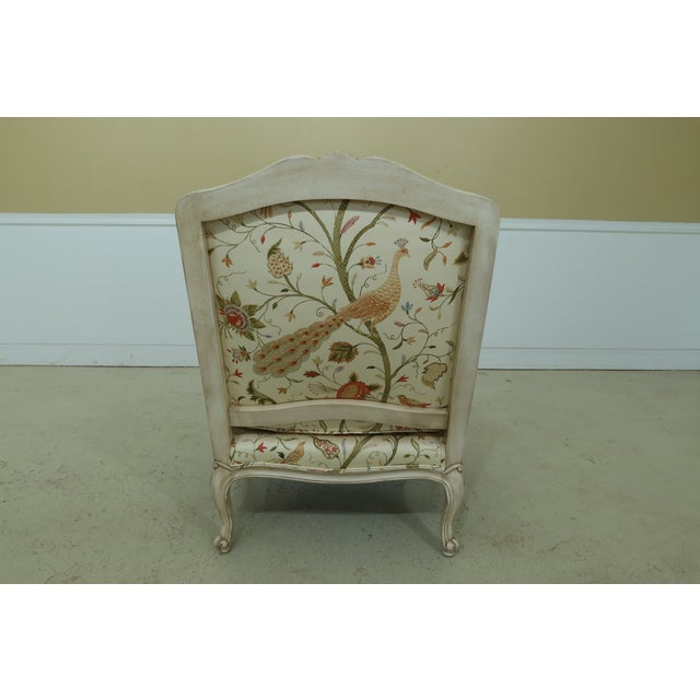 Thomasville Decorator Upholstered Peacock Print French Chair For Sale - Image 9 of 11
