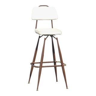 Mid-Century Modern White & Brown Swivel Barstool For Sale