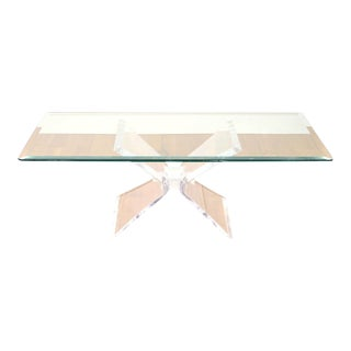 1960s Mid-Century Modern Glass Coffee Table With Lucite For Sale