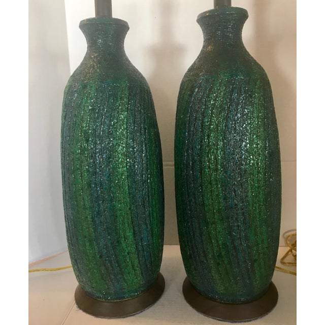 Ceramic Vintage Quartite Creative MCMLXV Table Lamps - A Pair For Sale - Image 7 of 8