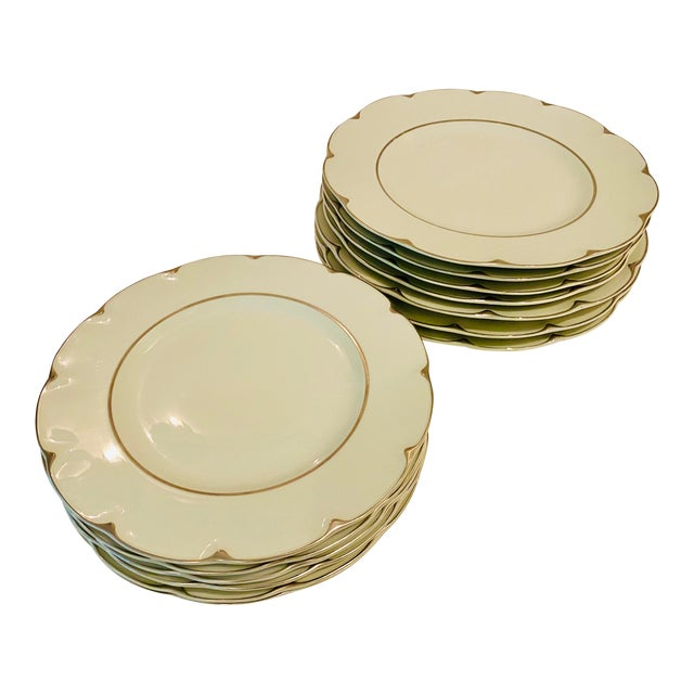 """Theodore Haviland """"Concorde"""" Limoges Celadon and Silver Scalloped Plates - Set of 13 For Sale"""