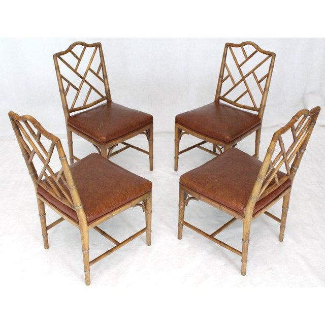 Set of Four Carved Faux Bamboo Dining Chairs For Sale - Image 9 of 9