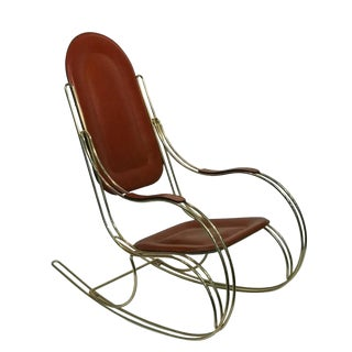 1970s Vintage Italian Leather Seat Brass Rocking Chair For Sale