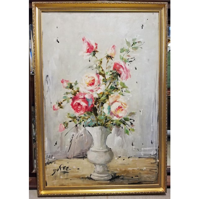 White Bouquet of Roses Signed French Oil Painting on Linen For Sale - Image 8 of 8