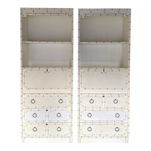 Drexel Kensington Faux Bamboo Secretary Cabinets, a Pair For Sale