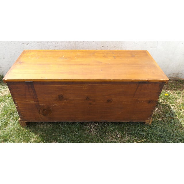 Primitive Antique Dovetailed Pine Hope Chest For Sale - Image 6 of 10