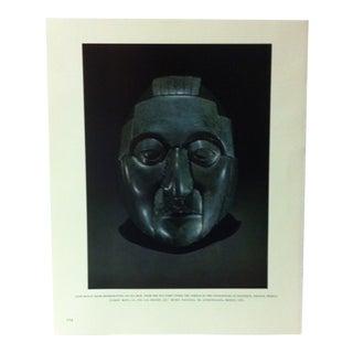 "Circa 1960 ""Jade Mosaic Mask Representing an Old Man"" Treasures of Ancient America Mounted Print For Sale"