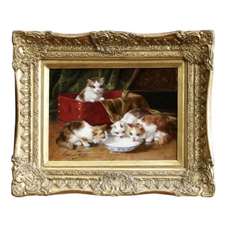 Kittens Drinking Milk Oil Painting, Brunel De Neuville