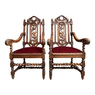 Pair Set Antique French Carved Oak Arm Chair Barley Twist Renaissance Louis XIII For Sale